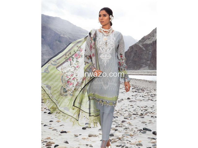 Mbroidered Gray Linen Dress In Pakistan - 3