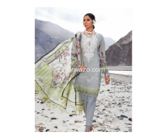 Mbroidered Gray Linen Dress In Pakistan - Image 3
