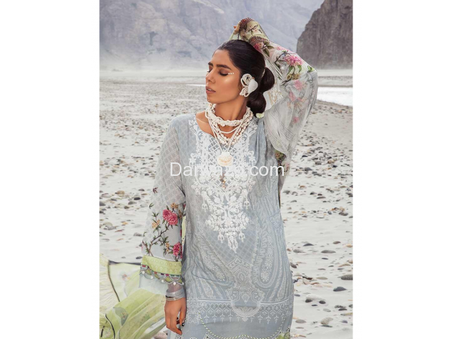 Mbroidered Gray Linen Dress In Pakistan - 4