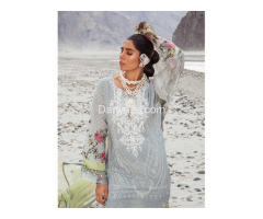 Mbroidered Gray Linen Dress In Pakistan - Image 4